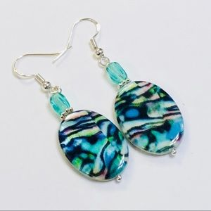 Mother-Of-Pearl Abalone Print Czech Glass Earrings